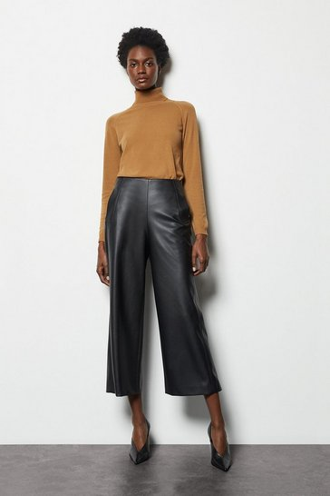 Womens Black Cropped PU Trousers
