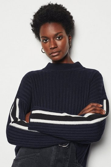 Womens Navy Chunky Sporty Stripe Jumper
