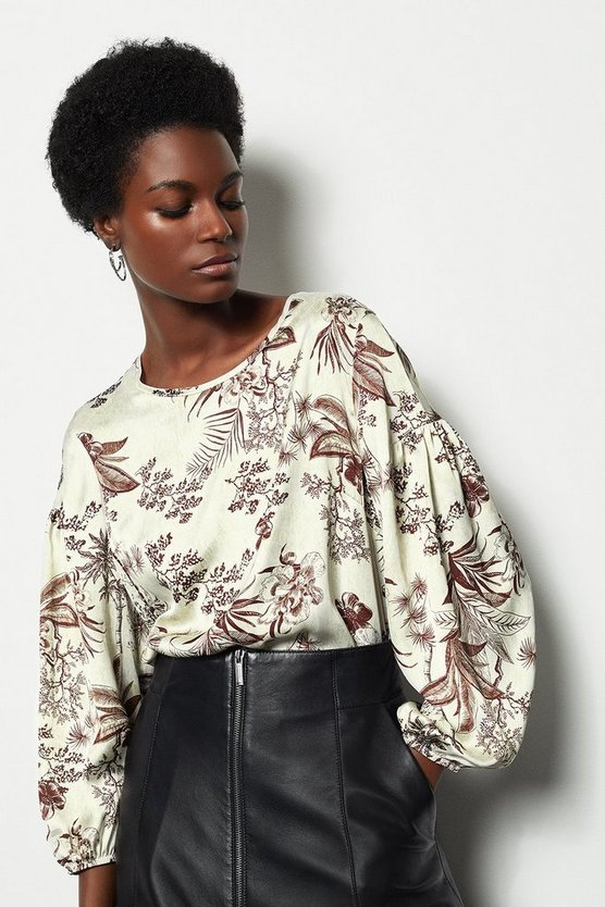 Floral Botanical Print Puff Sleeve Top