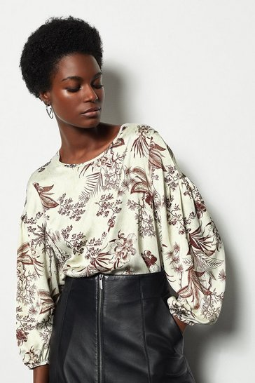 Womens Floral Botanical Print Puff Sleeve Top