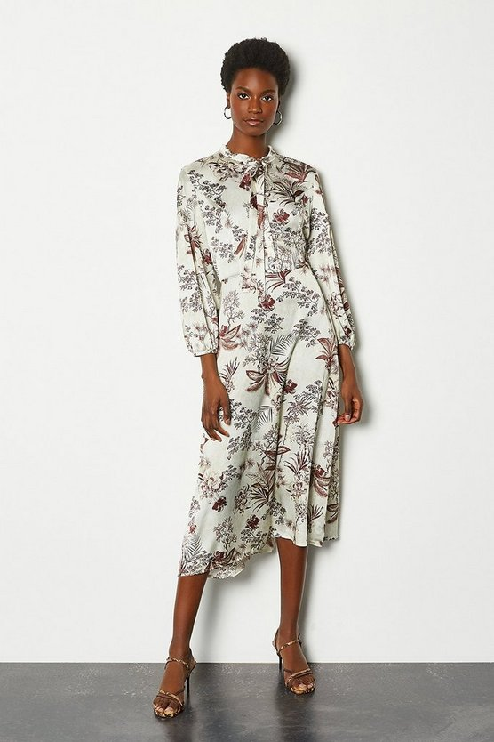 Womens Floral Botanical Print Midi Dress