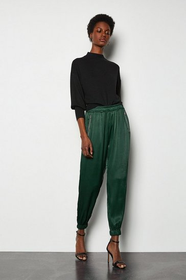 Green Satin Jogger Trouser