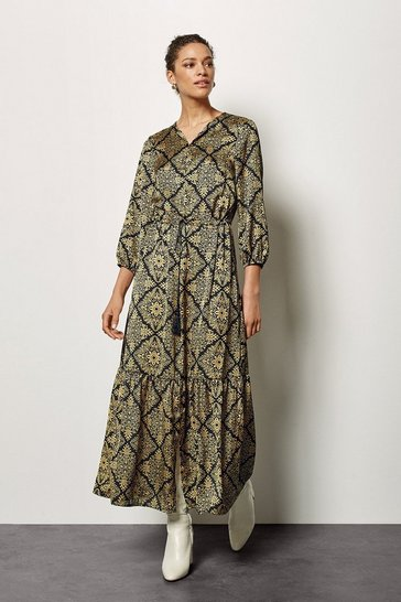 Womens Gold Print Dress