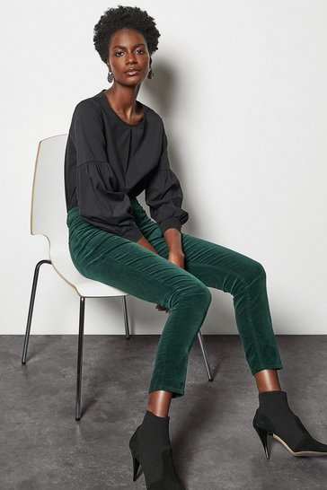 Womens Dark green Velvet Slim Cigarette Jean