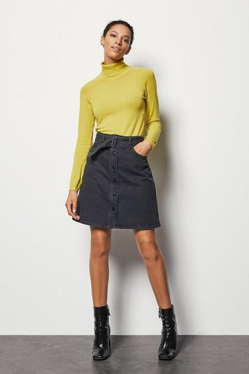 Womens Grey Charcoal Denim Skirt