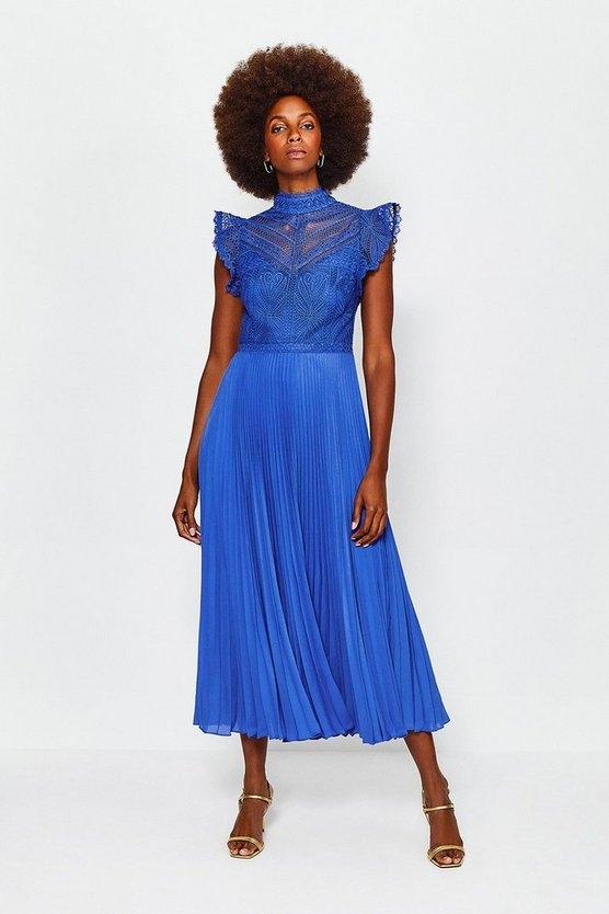 Blue Chemical Lace Midi Dress