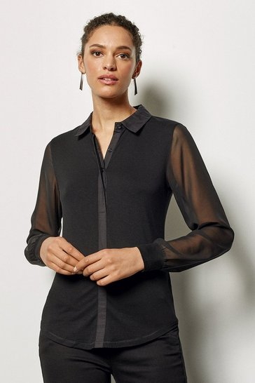 Womens Black Relaxed Jersey Shirt