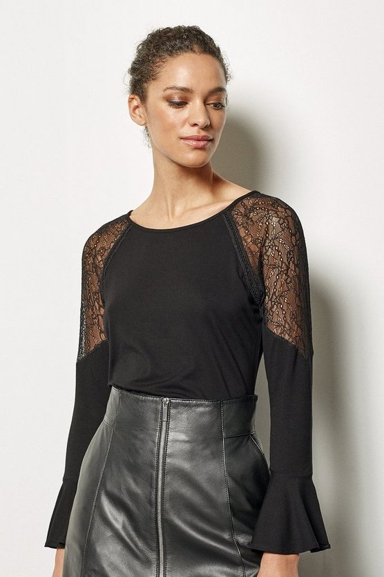 Womens Black Victoriana Top