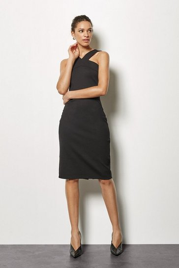 Womens Black Cross Neck Jersey Dress