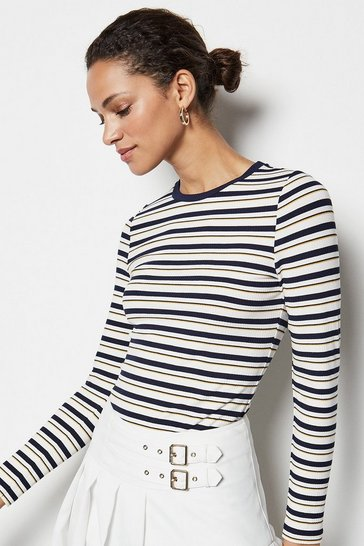 Womens Multi Stripe Long Sleeve Top