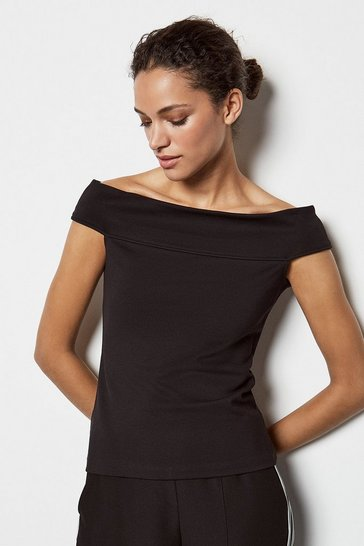 Womens Black Statement Off The Shoulder Top