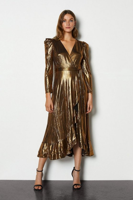 Bronze Metallic Puff Sleeve Wrap Midi Dress