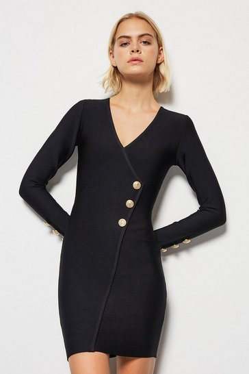 Black Gold Military Button Bandage Knit Midi Dress
