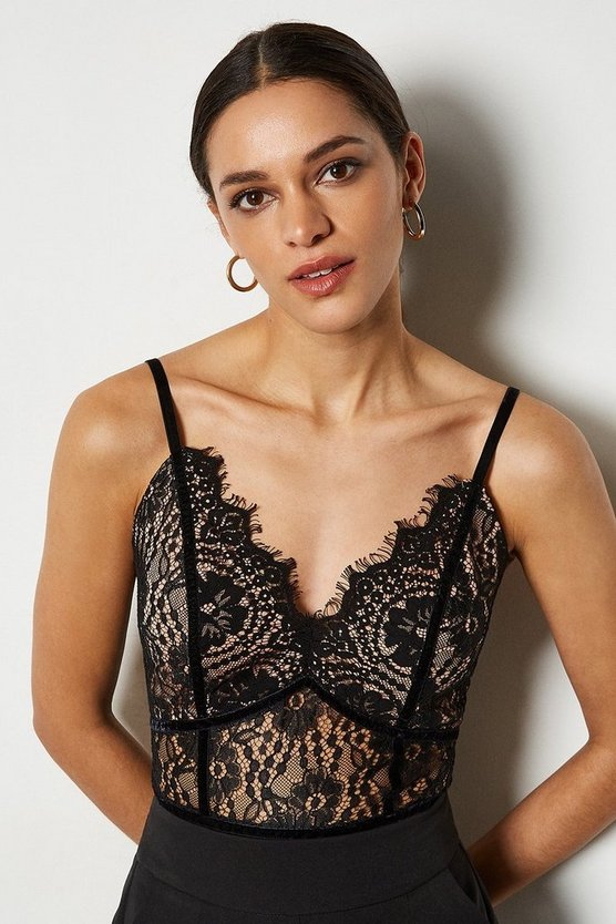 Black Eyelash Lace Bodysuit