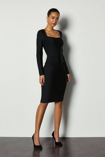 Black Bandage Knit Square Neck Midi Dress