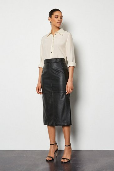 Womens Black Leather Zip Skirt
