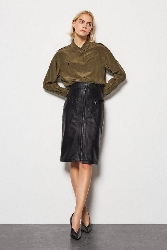 Black Slant Pocket Leather Skirt
