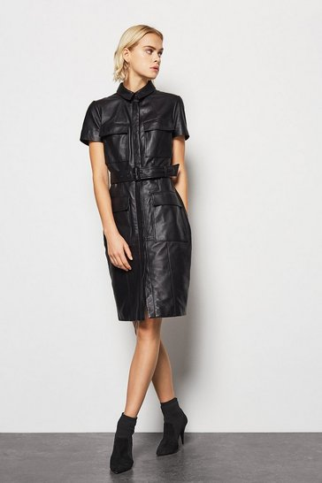 Dark navy Clean Leather Utility Dress