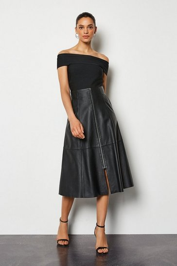 Womens Black Midi Full Leather Skirt