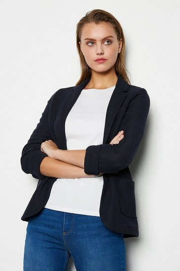 Womens Blue Knit Jacket