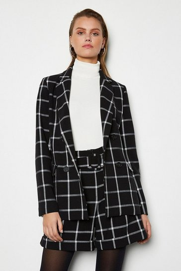 Womens Blackwhite Relaxed Check Jacket