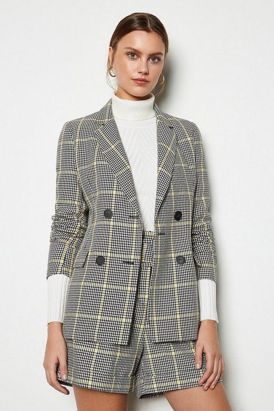Womens Yellow Relaxed Check Jacket