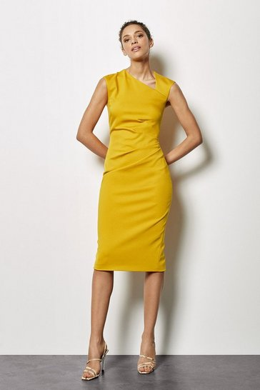 Mustard Asymmetric Tuck Pencil Dress
