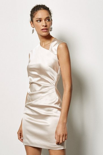 Womens Champagne Signature Stretch Asymmetric Dress