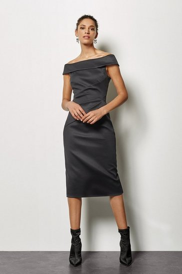 Black Bardot Ruched Dress