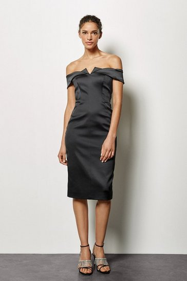 Black Origami Satin Bandeau Dress