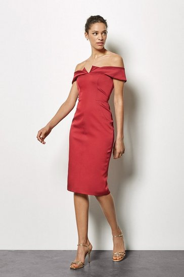 Red Origami Satin Bandeau Dress