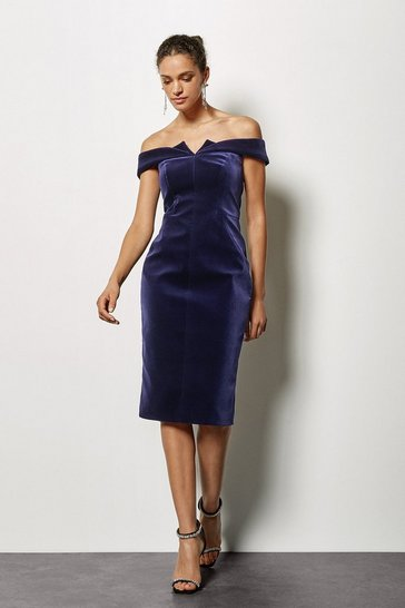 Womens Purple Galaxy Velvet Bardot Dress