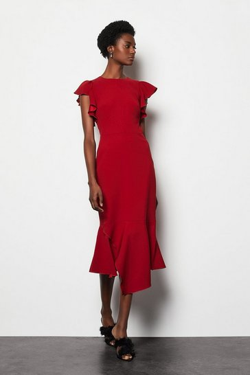 Womens Red Fit & Flare Dress