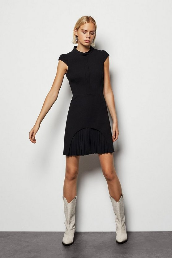 Black Soft Tailored Military Dress
