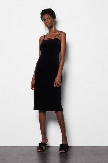 Womens Black Velvet Strap & Bar Dress