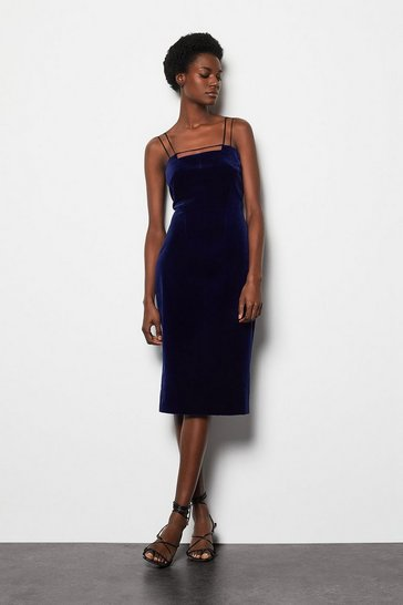 Womens Purple Velvet Strap & Bar Dress