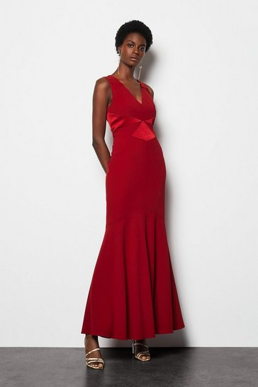 Womens Red Fishtail Maxi Dress