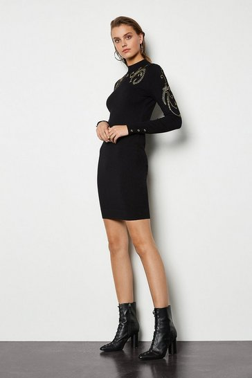 Womens Black Embroidered Military Knit Dress