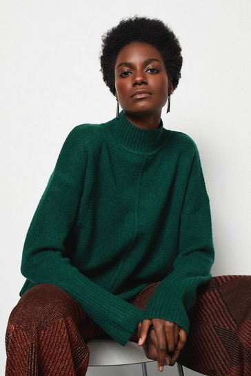 Womens Dark green Mid Gauge Boxy Jumper