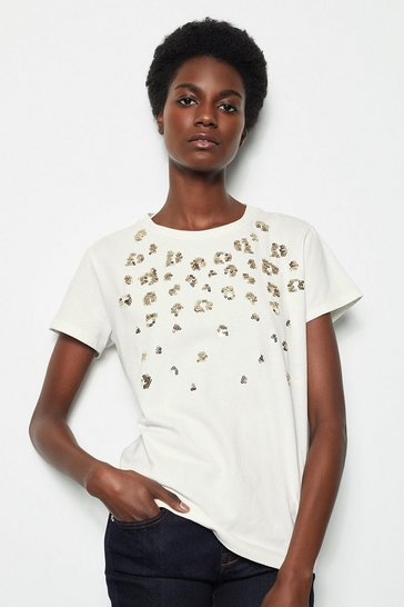 Womens White Animal Sequin T-Shirt