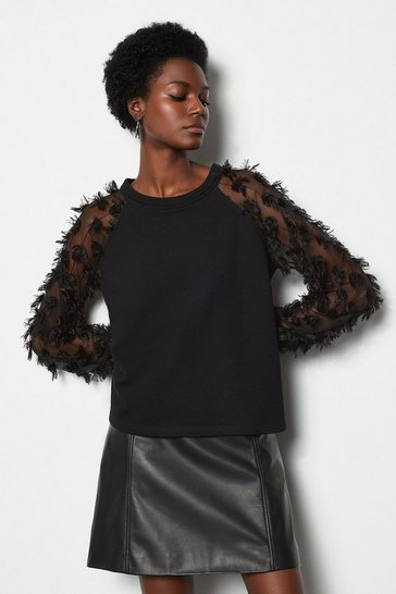 Womens Black Feather Sweater