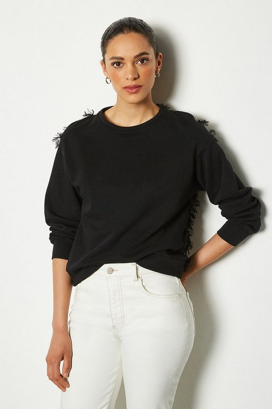 Black Feather Back Sweater