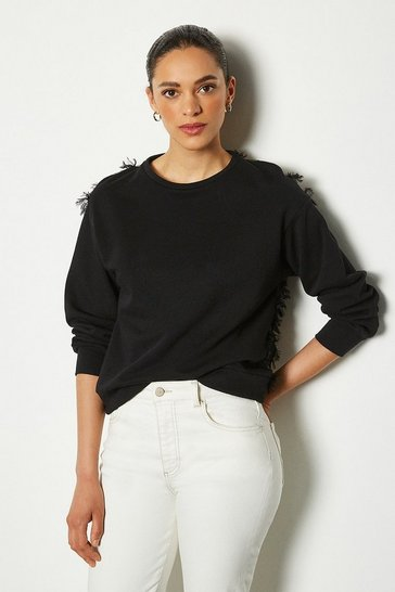 Womens Black Feather Back Sweater