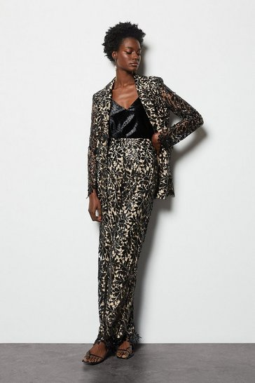 Womens Black Lace Sequin Jacket