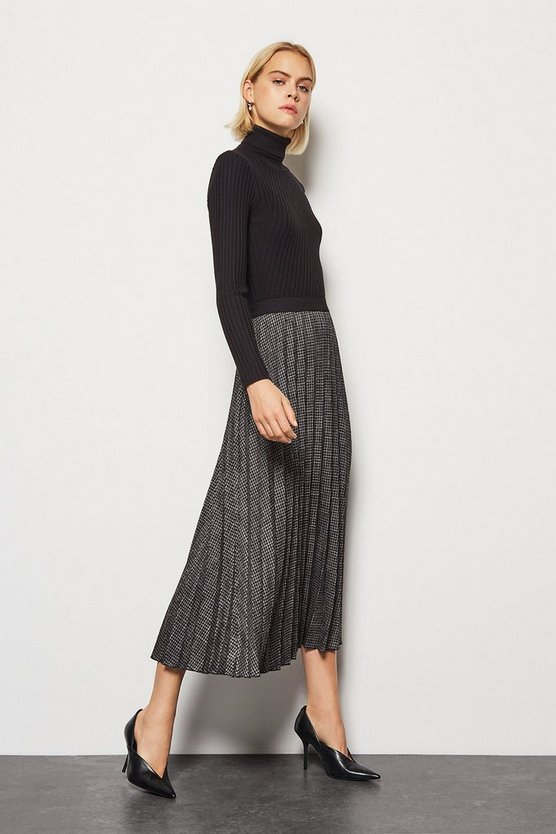 Womens Black Pleated Houndstooth Midi Skirt