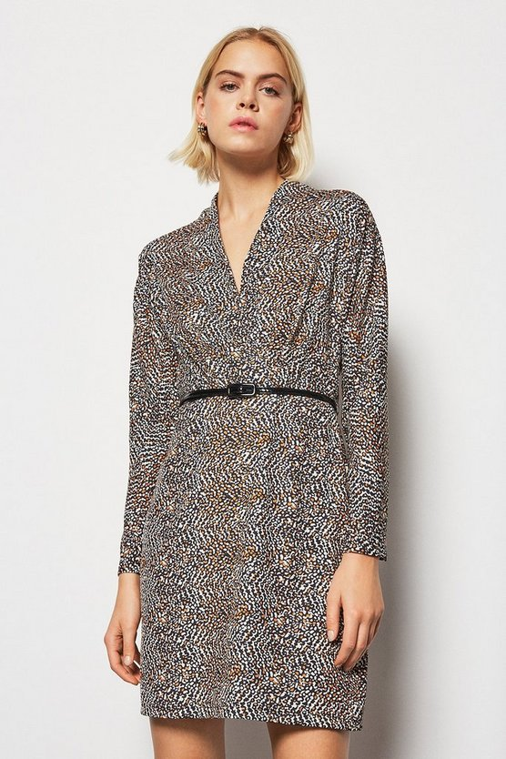 Animal  Printed Fixed Wrap Dress
