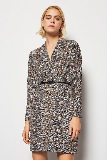 Womens Animal  Printed Fixed Wrap Dress