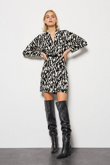 Blackwhite  Printed Fixed Wrap Dress