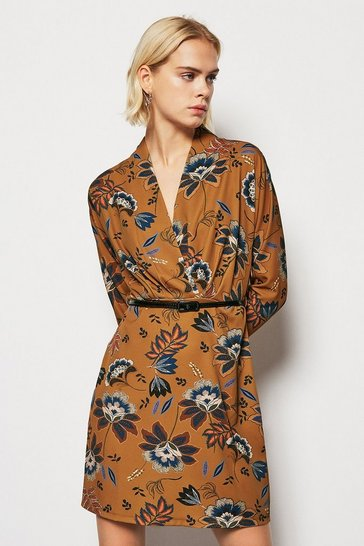 Womens Tobacco  Printed Fixed Wrap Dress