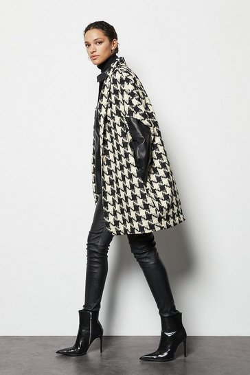 Womens Black houndstooth cape